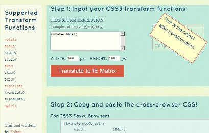 Screenshot of the IE Transforms Translator in IE6
