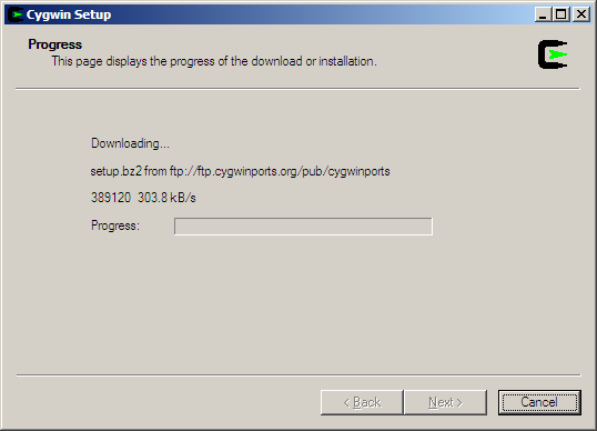 Cygwin error updating setup ini