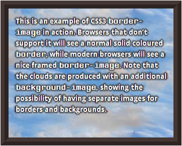Screenshot of how the border-image example 'falls back' in IE9.