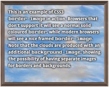 Screenshot of how the border-image example at the top of the page looks in Firefox.