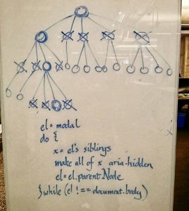 Picture of a whiteboard with pseudocode on it written in calligraphy.